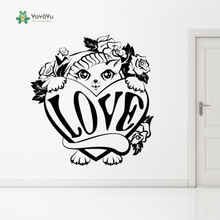 YOYOYU Vinyl Wall Decal Love Bute Cat Animal Cartoon Kids Bedroom Living Room Art Home Decoration Stickers FD464