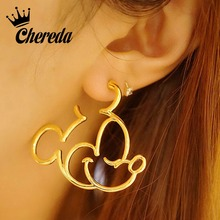 Chereda 2019 Cute Mickey Stud Earring for Women Gold Color Cartoon Statement Earrings Mouse Animal Ear Studs Funny Bijoux цена