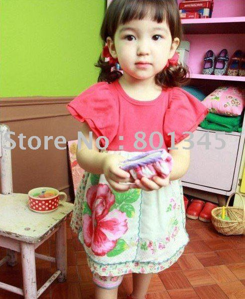 Free shipping,Factory Direct,children flowers pattern design beautiful dress,Hot sell kid's wear,size 2-8T,red yellow color