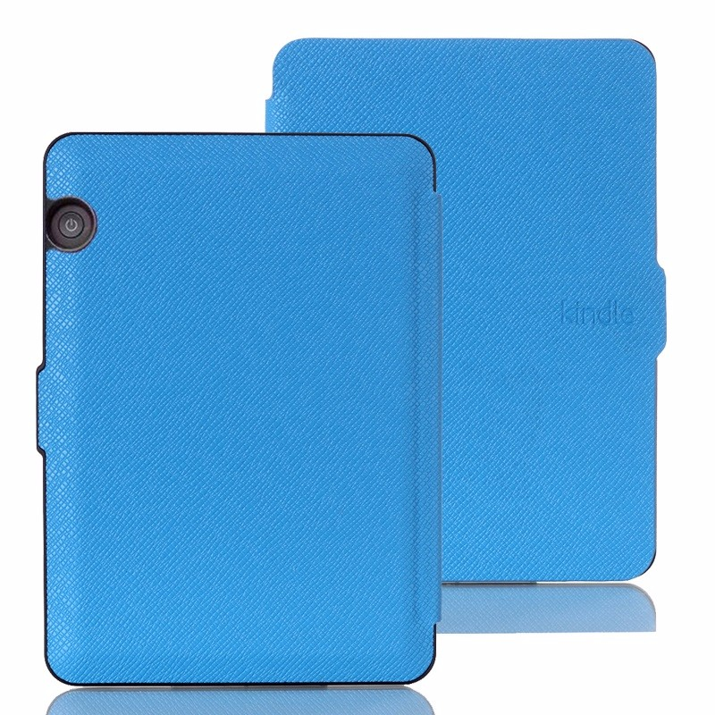skyblue pu leather ebook case for amazon kindle voyage ereader case