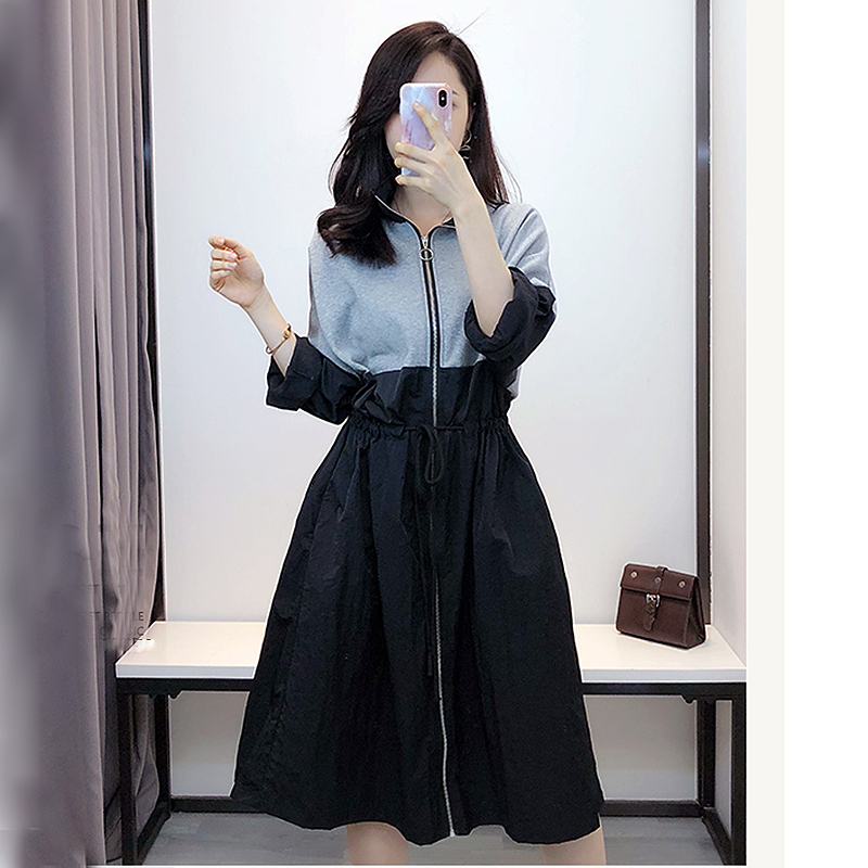 2019 Streetwear Long   Jacket   Womens Patchwork Loose   Basic     Jackets   Coats Ladies Spring Autumn harajuku Outerwear chaqueta mujer