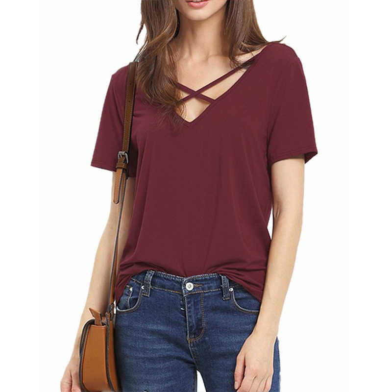 Simple Style Ladies V-neck Short-sleeved T-shirt Solid Color Neckline Cross Short-sleeved Girls Casual Shirt T-shirt