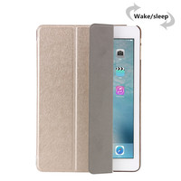 Silk Pattern Stand Style Ultra Slim Magnetic Leather Smart Case With Plastic Back Case For Ipad