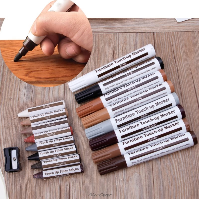17Pcs Furniture Touch Up Kit Markers & Filler Sticks Wood Scratches Restore Kit Scratch Patch Paint Pen Wood Composite Repair