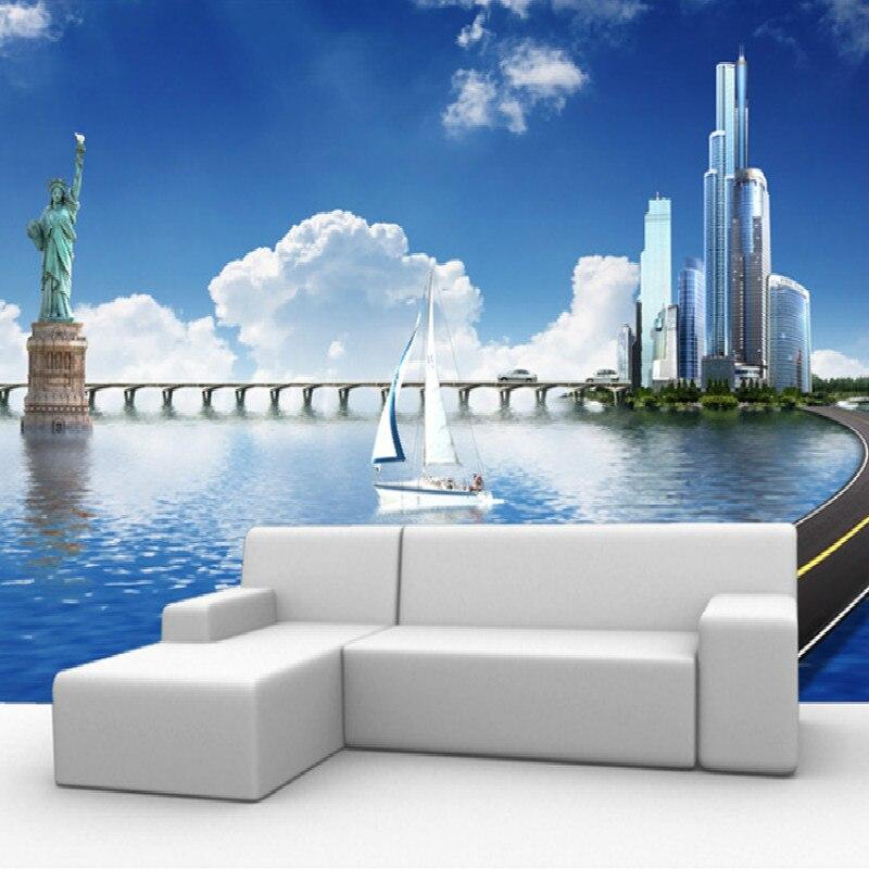 Custom European modern cityscape sofa backdrop mural 3D walls