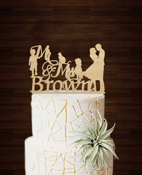 Western Wedding Cake Ideas: Rustic Wedding Cake Topper Personalized Family Cake Topper