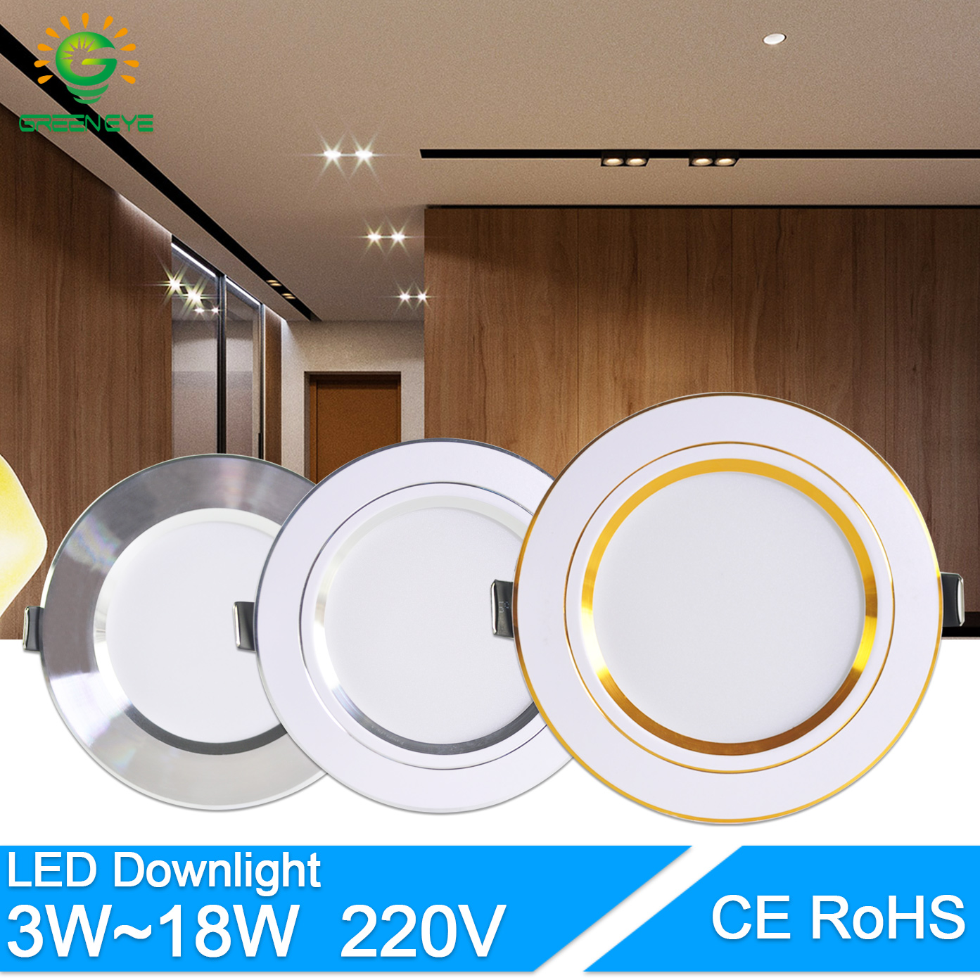 Downlight 3W 5W 9W 12W 15W 18W Spot Led Downlight AC 220V Gold Silver White Ultra Thin Aluminum Round Recessed LED Spot Lighting
