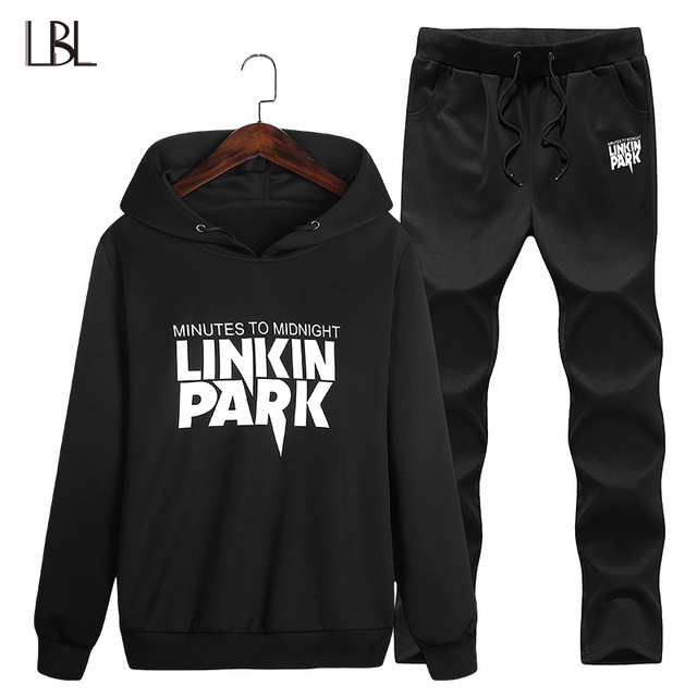 2018 NEW 2PC Hoodies+Pants Tracksuit Autumn Winter Warm Print Casual Fleece Hoodie Men Tracksuit Set Mens Hoodies and Sweatshirt