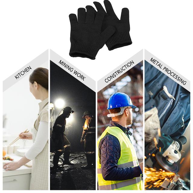 Rękawice ochronne ze stali rękawice odporne na cięcia Stab odporna ochrona bezpieczeństwo rękawice do cięcia odporne na zużycie rękawice myśliwskie tanie i dobre opinie Pasuje prawda na wymiar weź swój normalny rozmiar Steel + Polyethylene fiber Cut Resistant Gloves