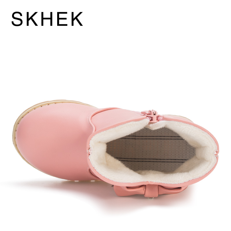 SKHEK Girl Boys Kids Boots Rain Winter Girl Shoes Baby Winter Kids Shoes For Leather Non-Slip Warm Ashion Trend Of Boots A3356