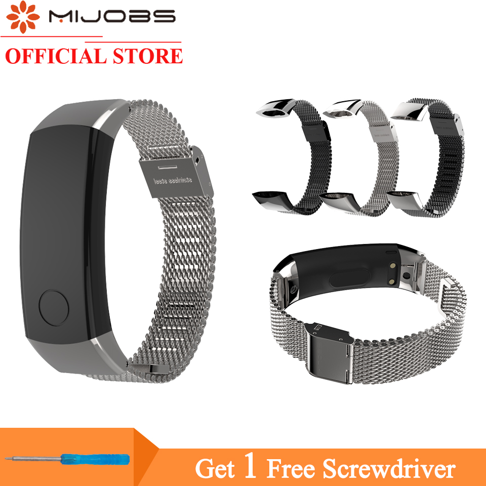 Milanese Metal Strap For Huawei Honor Band 3 Smart Watch 155-255mm Wristband Stainless Steel Bracelets Smart Accessories