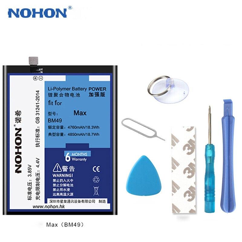 Original NOHON Batterie BM49 Für Xiao mi mi Max 4850 mah Li-Polymer Telefon Ersatz Batterien Kostenloser Werkzeuge + einzelhandel Paket