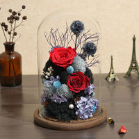 Handmade Preserved Never Withered Real Rose Flower Glass Dome Lover Valentine Day Gifts Wedding Birthday Gift