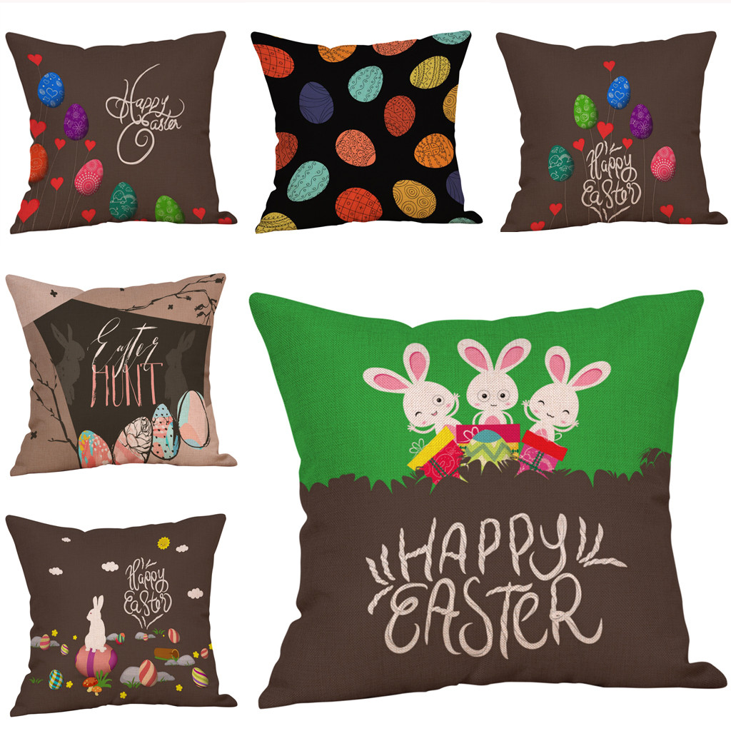 Cushion Cover Careful Happy Easter Eggs Bunny Cushion Cover Decorative Pillows Cover For Sofa Car Seat Square 45x45cm Throw Pillow Case Home Decor Preventing Hairs From Graying And Helpful To Retain Complexion