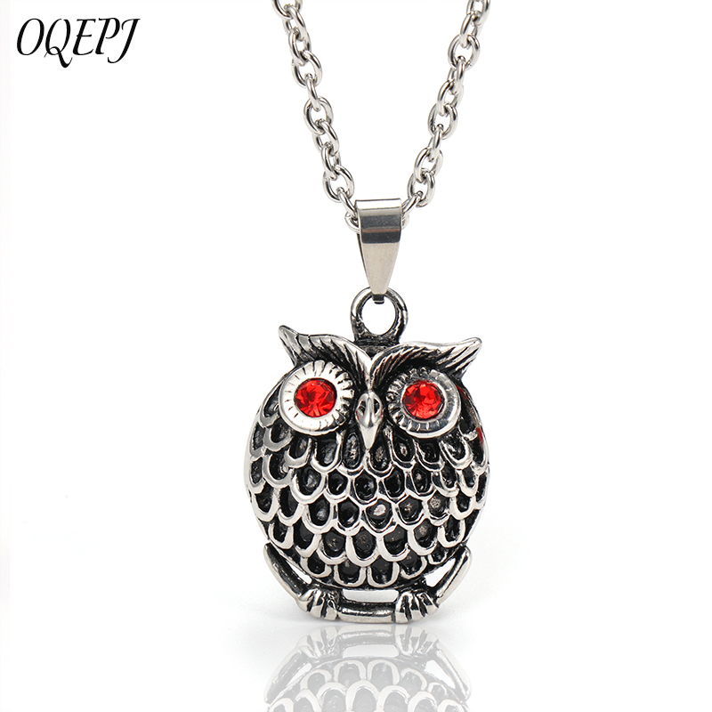 OQEPJ Gothic 316L Stainless Steel Silver Color Necklaces Pendant Cartoon Owl Vintage Crystal Paved Animal Men Necklace Gift