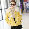 2016 new women fashion slim short jacket for women turn down collar autumn winter girls woolen jacket coat DX450
