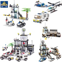 KAZI City Police Station Police Command Vehicle Helicopter Building Bricks Plastic Blocks Toys For Children Compatible