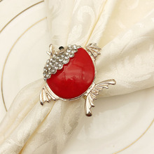 5PCS hotel creative napkin ring drip oil red fish alloy buckle cloth towel