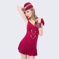 Fashion Blue Stewardess Cosplay Uniforms Sexy Woman Servant Waitress Costume Temptation Airline Hostess Role Play Outfit