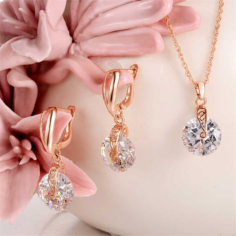 High Quality Necklace Earrings Jewelry Set Golden Plated Round Crystal Cubic Zirconia Stone Beads Women Fashion Jewelry Sets