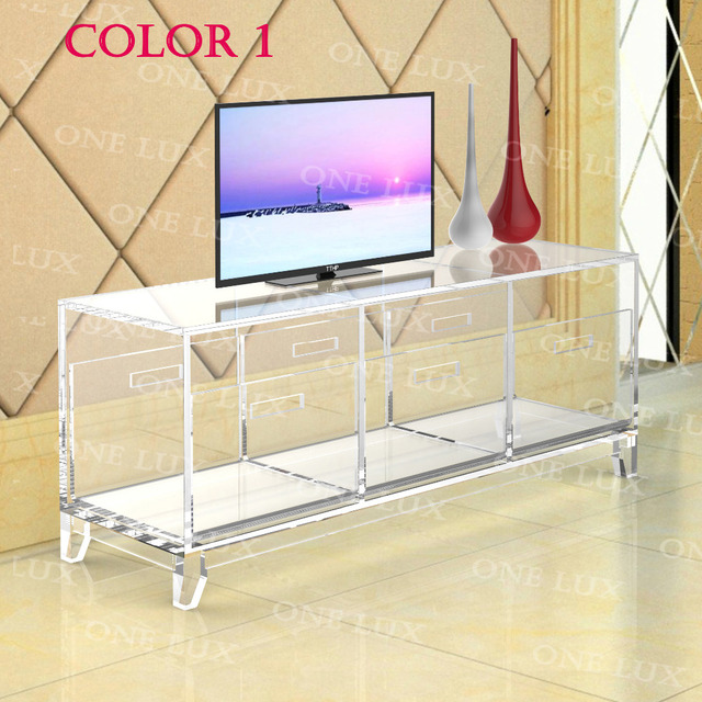 Acrylic TV Stand Table,Luite Cabinet With Removable Trays,Perspex Living  Room Side Wall