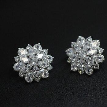 0790c23239 Flyleaf 925 Plata de Ley 100% Aaa zirconia cúbica flores pendientes para  mujer lujo novia señora joyería de moda