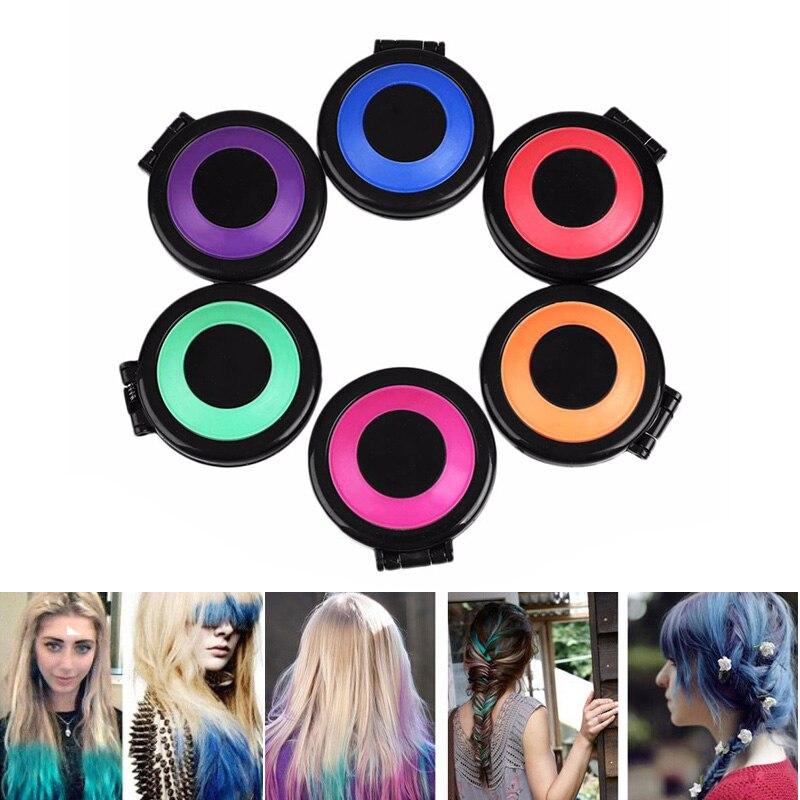 6 farben haar dye temporare haar kreide pulver weichen salon haar farbe diy kreiden fur die haar in 6 farben haar dye temporare haar kreide pulver weichen