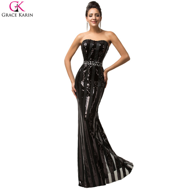 Free Shipping Strapless Black Sequined Long Evening Dresses Women ...