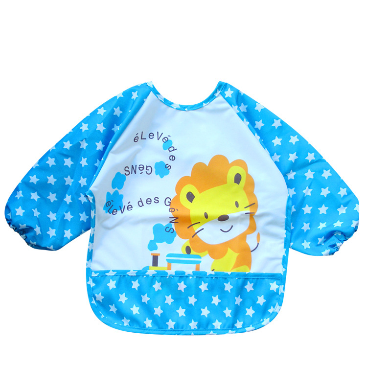 Long Sleeve Baby Bibs Waterproof Baby Feeding Bib Apron Clothing Cartoon Animal Lion Rabbit Babador Bandana Bebe Bib Burp Cloths