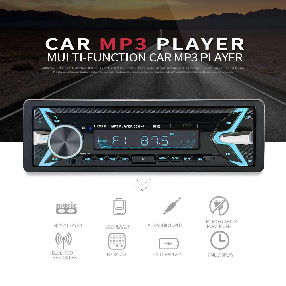 New 12V Car Audio Stereo Car Radio Bluetooth V3.0 In-dash 1 Din FM Aux Input Receiver SD USB MP3 MMC WMA Car Radio Player