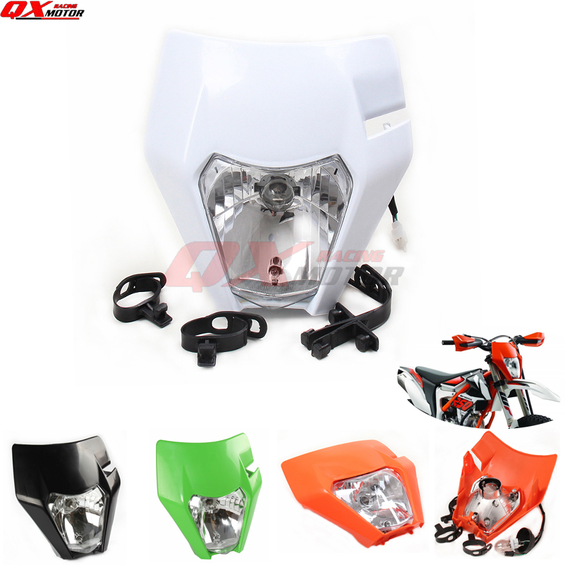 White Universal Headlights Headlamp For 2017 KTM SX EXC XCF SXF SMR Motocross Enduro Dirt Bike Supermoto