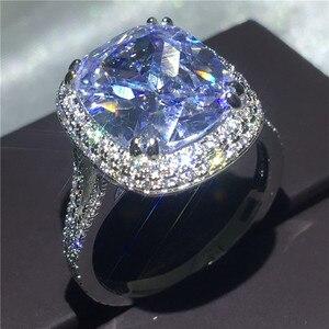 Image 2 - Choucong גדול יוקרה טבעת 925 סטרלינג כסף כרית לחתוך 8ct AAAAA זירקון cz אירוסין נישואים לתכשיטי נשים