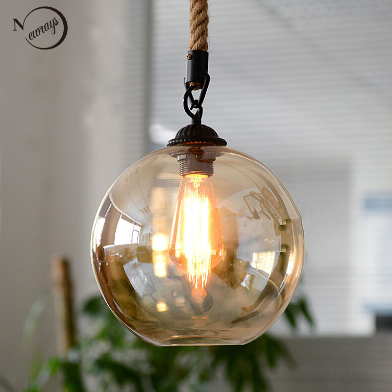 Loft Vintage retro Industrial Glass Ball Hemp rope Pendant Lights E27 Fixtures for Restaurant Dining room Living Room Cafe Bar loft vintage industrial pendant light fixtures copper glass shade pendant lamp restaurant cafe bar store dining room lighting