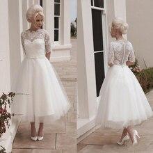 Ivory White Tea Length Short Wedding Dresses Vintage Lace Tulle Appliques Garden Bridal Party Gowns Cheap Princess A line
