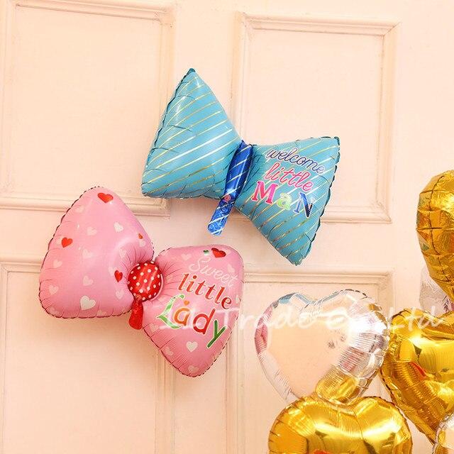 unidslote el envo libre beb nia nio feliz cumpleaos globos decoracin del partido globos de papel de color rosa azul corbata de lazo
