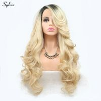 Sylvia Long Body Wave Hair Synthetic Lace Front Wigs For Women Blonde Ombre Replacement Side Part Hairstyle Heat Resistant Blond