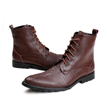 Brand Italian Genuine Leather Men Boots Brown Crocodile Fashion Wedding Business Office Short Ankle Boots Men Shoes Big Size 46