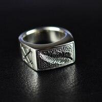 Мужское кольцо из стерлингового серебра 925 пробы с перьями