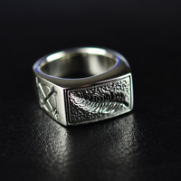925 sterling silver feather man ring