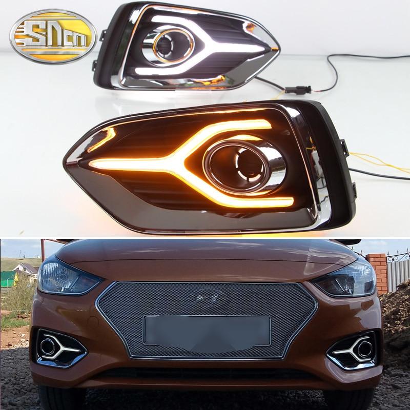 Pour Hyundai Solaris Accent 2017 2018 clignotant jaune Signal relais 12 V voiture DRL lampe étanche ABS LED feux de jour SNCN