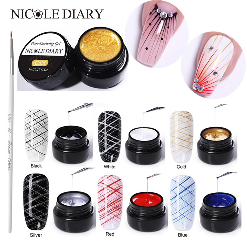 NICOLE DIARY Spider Nail Gel Creative Wire Drawing Nail Gel Lacquer Point To Line Painting Gel Polish Pulling Silk Spider Nail máy xay sinh tố của đức