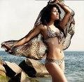 Moda 2016 Leopard Gasa Cubre para arriba el Vestido Del Mantón Del Abrigo de la Playa de Baño Bikini Sarong 10 unids/lote #3824