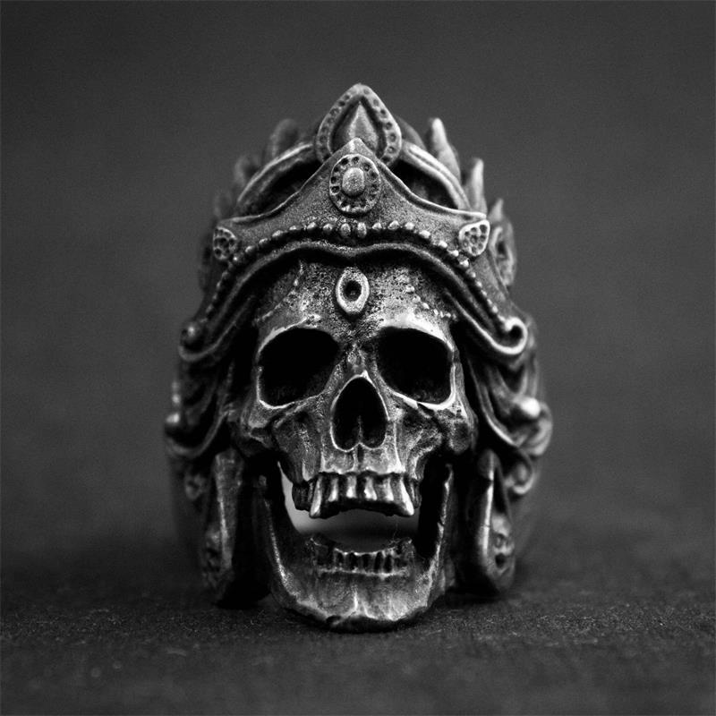 Único gótico Mahakali cráneo anillo 316L Acero inoxidable titanio acero hombres anillo joyería para motero punk regalo
