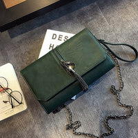 TINTON New Korean Style Women Messenger Bags Simple Soild Black Green Color Flap Shoulder Bag Tassel