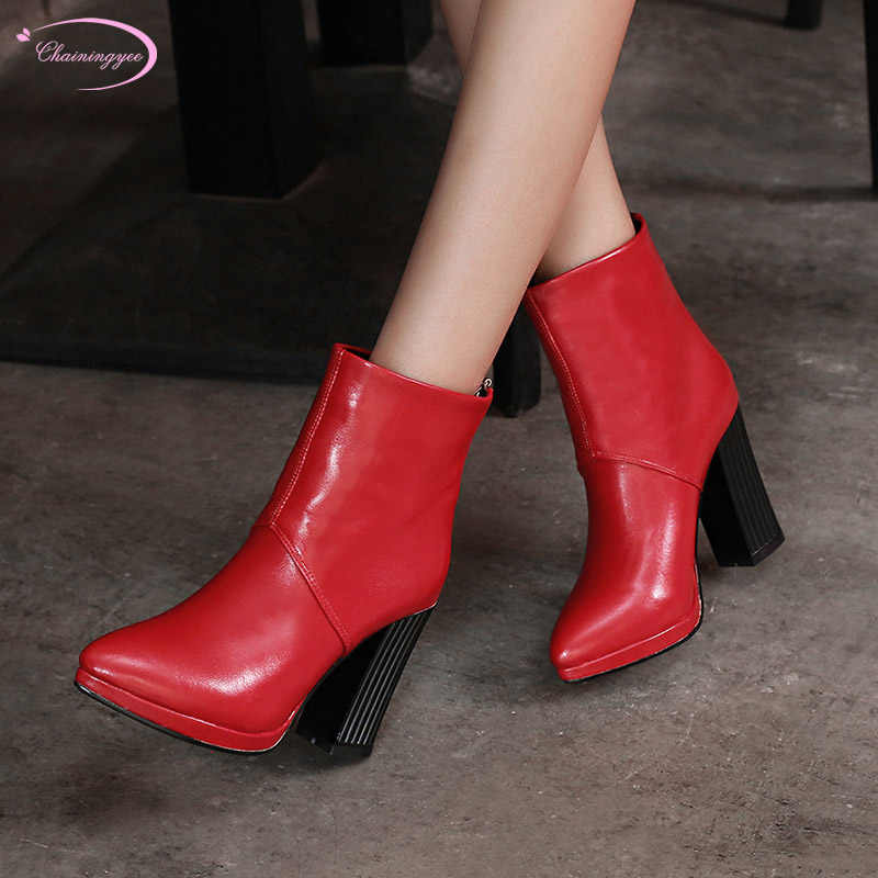 070757f0603 European street style sexy pointed toe autumn ankle boots zipper black  white yellow red high-heeled riding boots women's shoes
