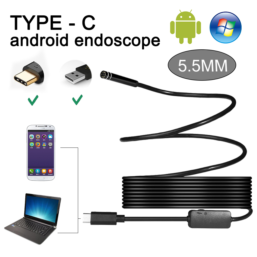 SANNCE 2 dans 1 3 M 5 M 10 M 6 LED Étanche 5.5 MM TYPE-C USB Endoscope pour PC Portable Android Téléphone D'inspection Caméra HD