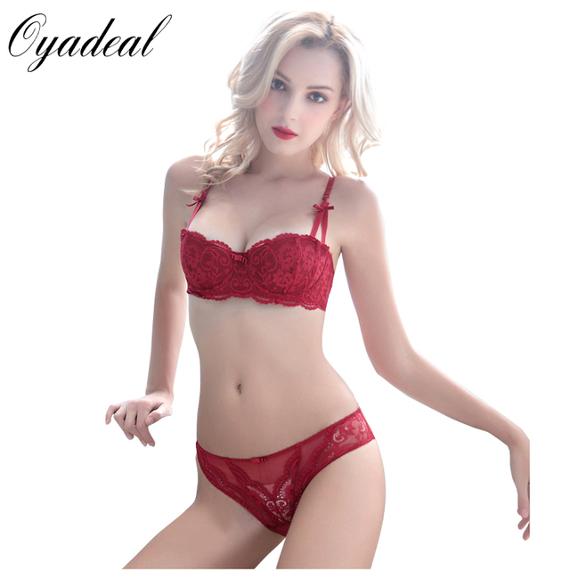 e44ff2023b Oyadeal Women Lace Bra sets Top Brief Brassiere Sexy Lingerie Underwear 1 2  Cup Ultra
