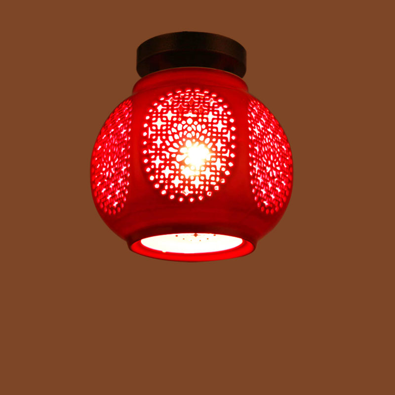 Grand Chinese red lanterns balcony aisle porch ceiling hall aisle lamp Chinese ceramic ceiling lamps ZH full copper lamps and lanterns of american meals hanging lamp act the role ofing porch corridor lamp