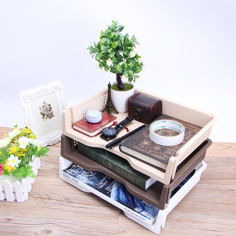 Plastic Desk Organizer Files Letter A4 Paper Superimposed Tray Organizer  Office Accessories School Supplies
