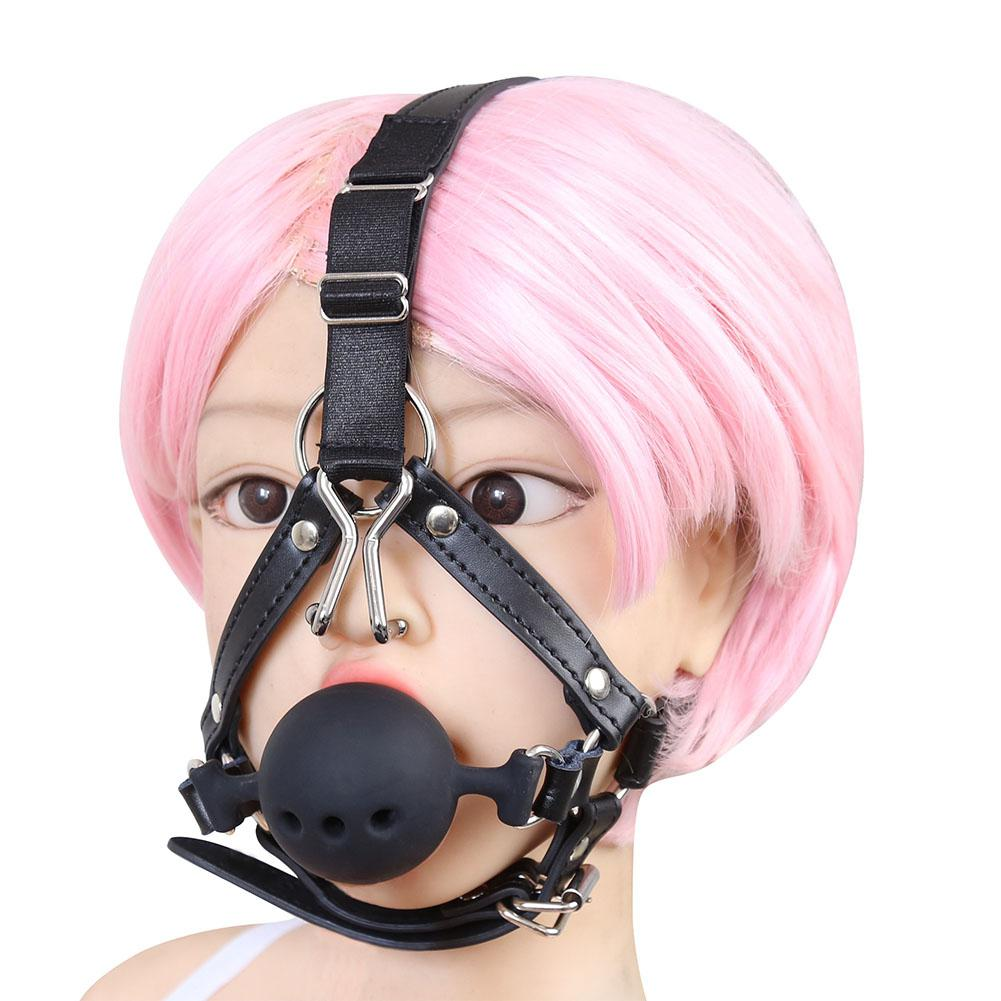 Silicone Breathable Wiffle Mouth Open Gag with Nose Hook, Bite Ball Gag Harness Belt Adult Sex Toys for Couple